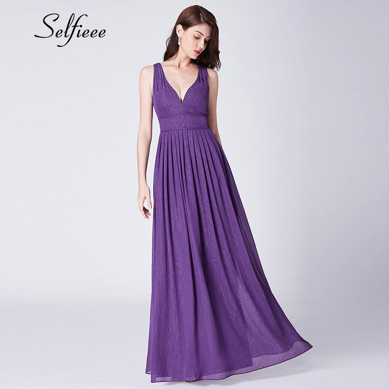 New Purple Party Dresses Donna Evening Elegant A Line con scollo a V Backless Sparkly Long Chiffon Dress Summer Beach Maxi Dress Ladies