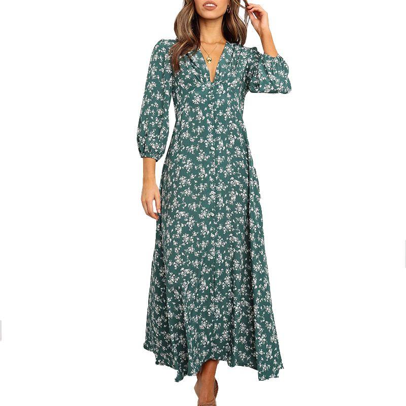 Casual Vintage atractiva del verano V-cuello 3/4 del soplo de manga larga Flowy Azul marino Verde Una línea de ajuste de la impresión floral maxi vestidos para las mujeres