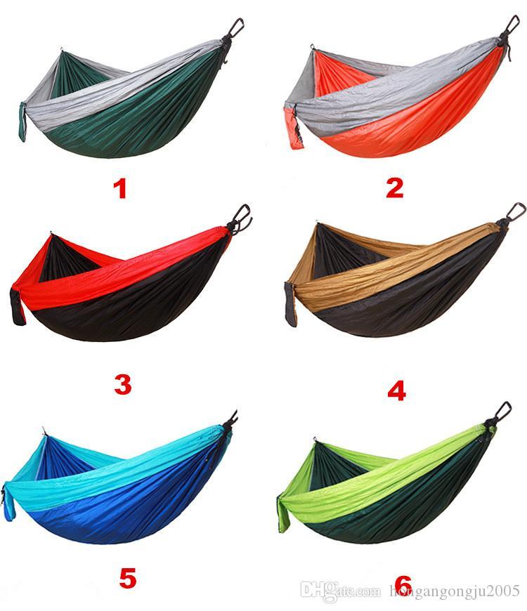 Amaca 24 colori di 270 * 140cm 230 * 90cm 300 * 200cm tre dimensioni paracadute esterna in tessuto Campo tenda da campeggio Camping Garden altalena appesa Bed