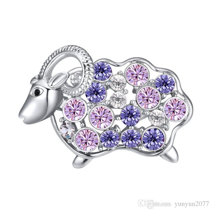 Christmas Present High-end Fashion Accessories Jewelry Luxury Import Austrian Crystal Rhinestons Gentle Sheep Charm Brooches Pins For Women