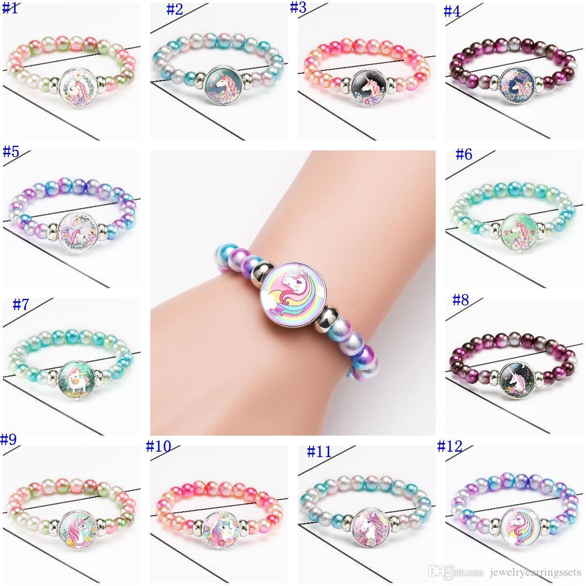 مطاطا الزجاج كابوشون سوار الألوان الخرز القطعة زر سوار تصميم جديد للأطفال أزياء ومجوهرات هدية