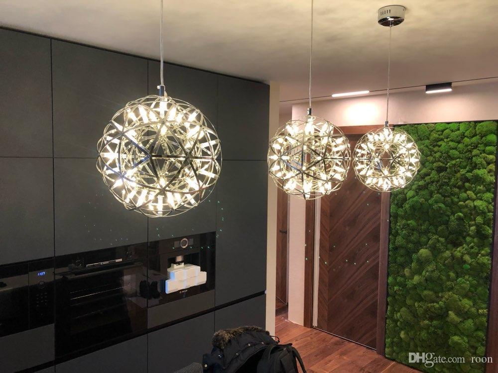 Handgemachte Edelstahl Feuerwerk Pendelleuchte moderne Kronleuchter Beleuchtung Villa Hotel Projekt Beleuchtung Ball Restaurant Designer