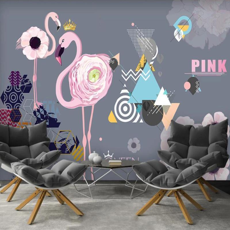 Dropship Custom Large 3D Wallpaper Mural Nordic Minimalist Pink Flamingo Geometry TV Background Wall Paper Mural
