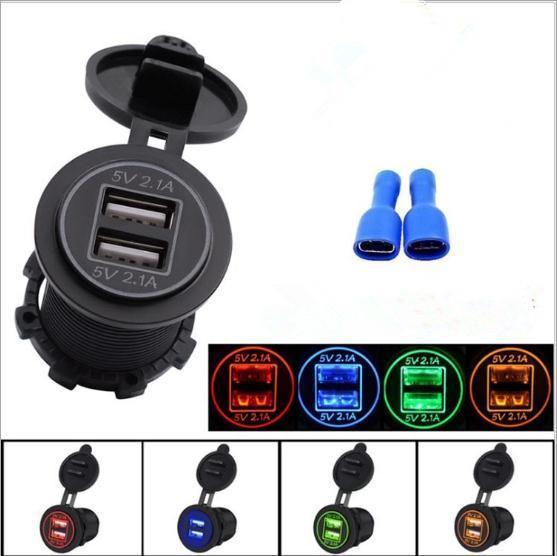 ماء 12-24V USB شاحن للدراجات النارية سيارة شاحنة ATV قارب LED سيارة 4.2A المزدوجة USB مقبس شاحن محول الطاقة المخرج سيارة كهربائية شاحن