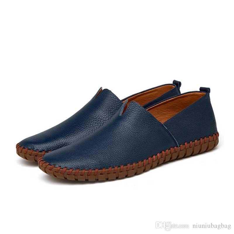 Erkekler Hakiki Deri Ayakkabı Moda Erkekler Için Ayakkabı Kayma İtalyan Deri Erkek Loafer'lar 2019 Yeni Adam Ayakkabı