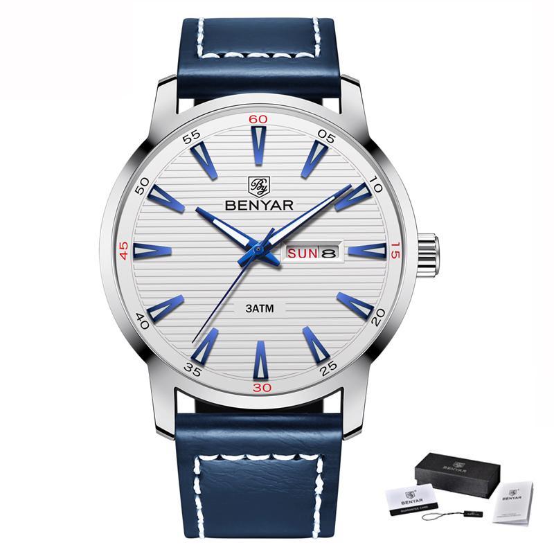 CWP 2021 benyar ووتش الفاخرة أعلى ماركة التلقائي تاريخ الاسبوع العسكرية الأزياء الذكور الكوارتز الجلود ساعة اليد relogio masculino