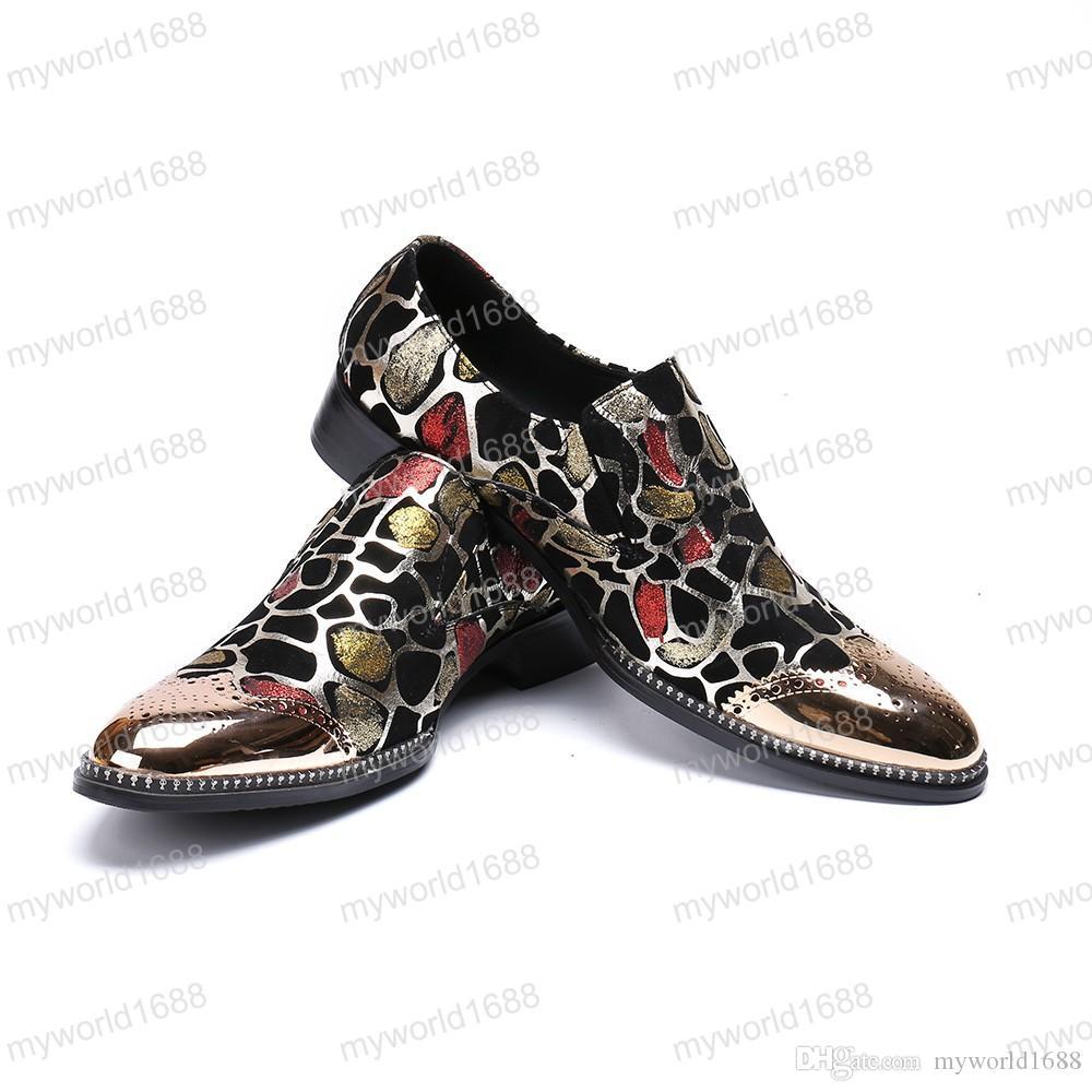 Золотое железо мужские деловые туфли охра печатных Борг оксфорды дышащая летняя обувь для мужчин размер 38-46