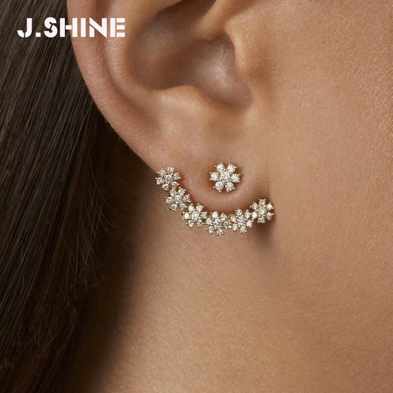 JShine Front und Rückseite der Frauen Mehrfarbenkristallschneeflocke-Bolzen-Ohrringe für Frauen-Charme-Statement Blume Mode Ohrring Schmuck