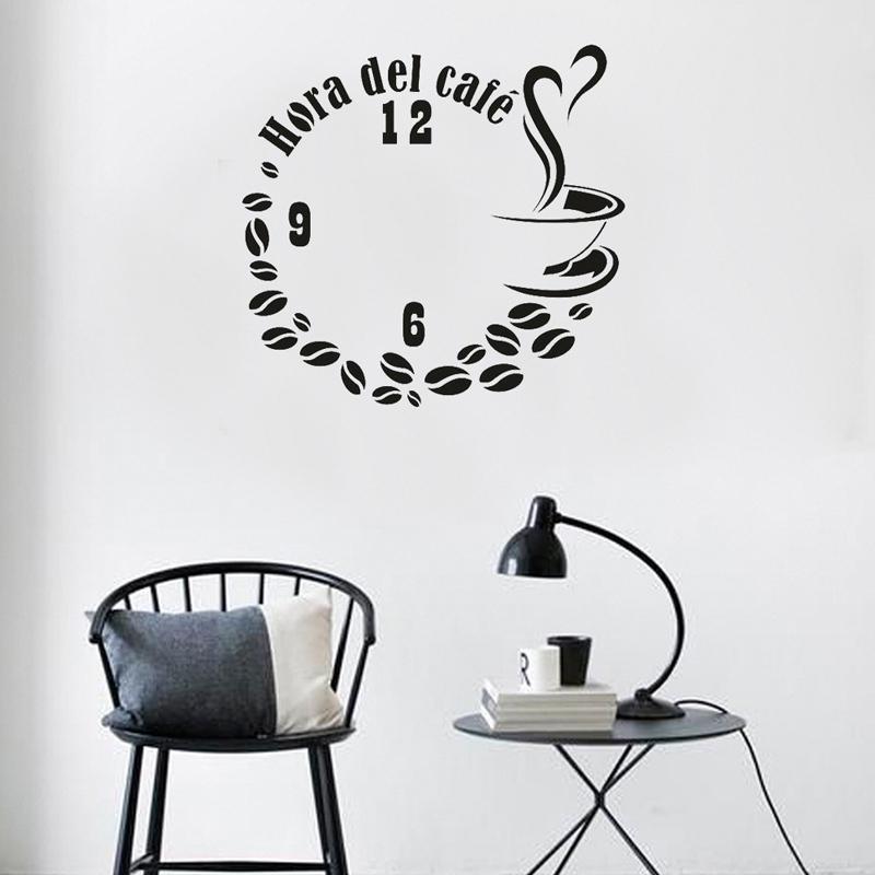 Granos de la taza de café del café del reloj etiqueta de la pared decoración casera creativa dormitorio Living Room Decoration Calcomanías Cartel Mural pegatinas de vinilo