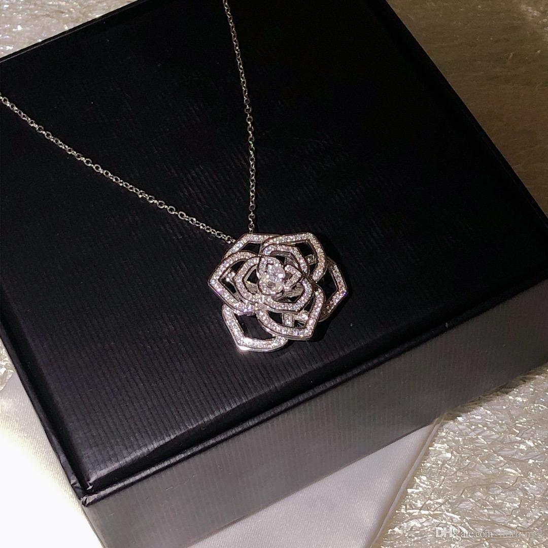 Frau Schmuck Mode Rose Halskette hohe Qualität 925 silberne Blumen-hängende Halskette für Frauen-Geschenk Verschiffen frei 40-45cm Liebe