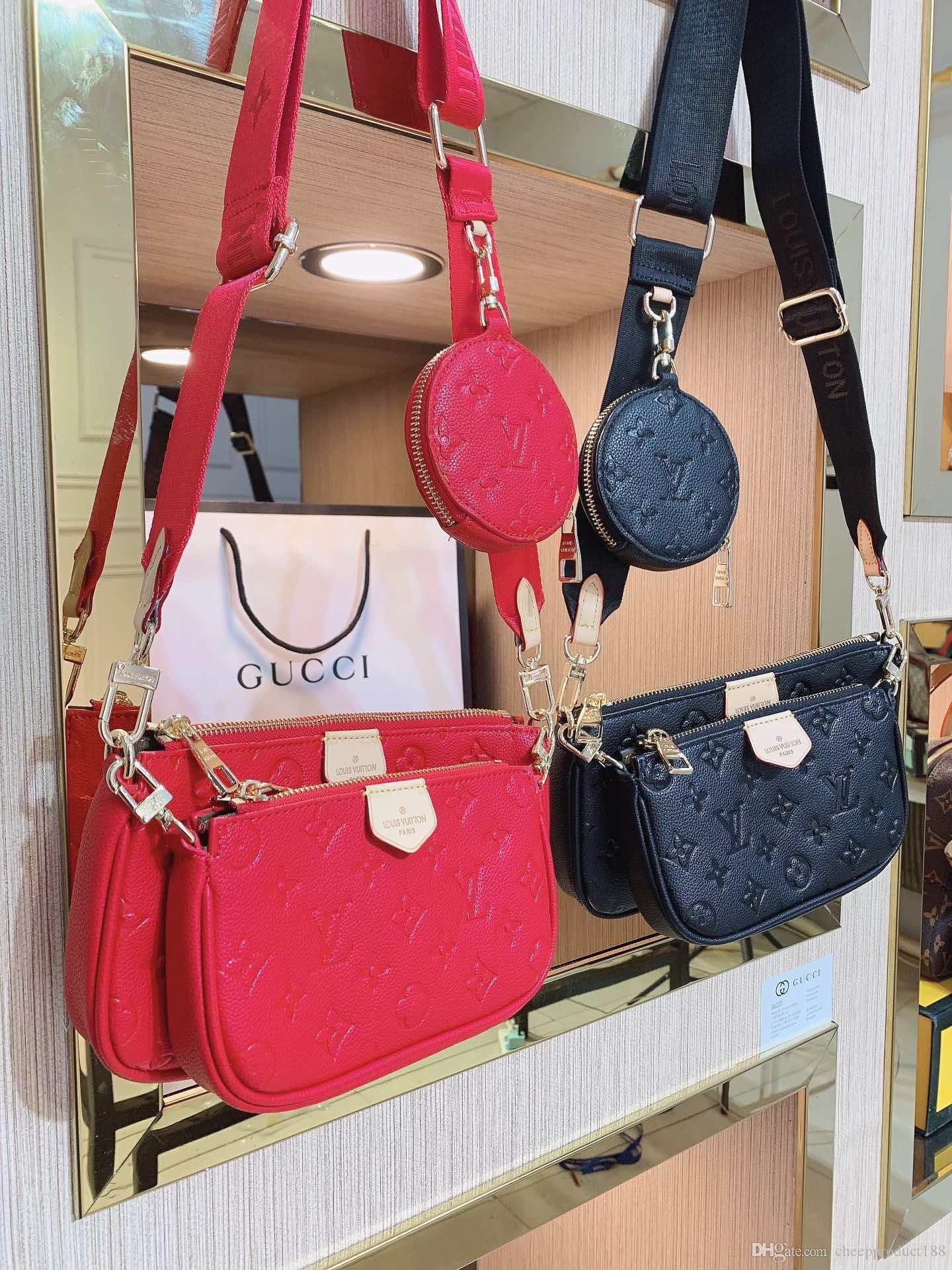 MULTI POCHETTE ACCESSORIES الأفاق أزياء العلامة التجارية النقش مشبك إمرأة حقيبة يد مصمم الجلود سلسلة حقيبة الكتف أكياس هيئة الصليب محفظة