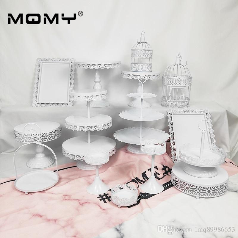 15 Pieces Party Set 3 Tier Round Plate Tray And Cupcake White Pink Wedding Dessert Metal Cake Stand