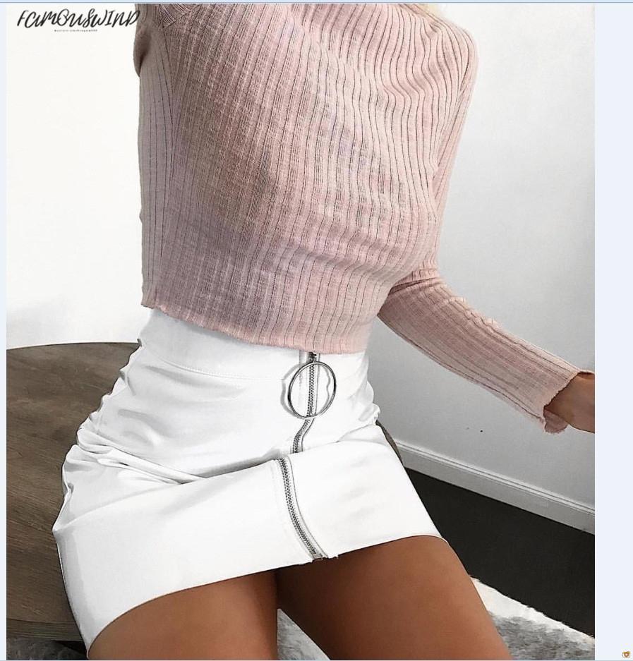 Moda Yeni Etek Pu Kadın Beyaz Deri Kalem Yüksek Bel Mini Kısa Etek Seksi Fermuar Bodycon Etek Streç Parti Elbise