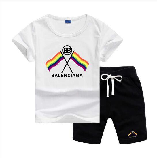 BLSG Colorful Flag Logo Designer Luxury Kids Sets Baby Boys And Girls Baby Infant Boy Designer Clothes 2Pcs/set Cotton Summer Short Sets
