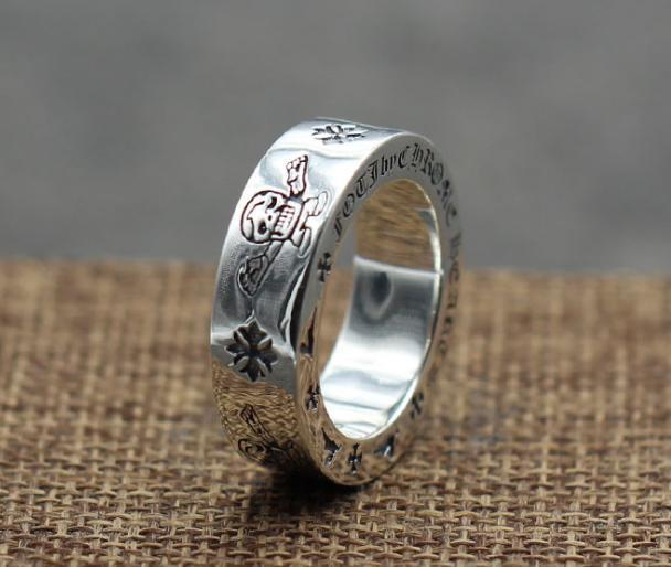 925 sterling silver rings trend personality jewelry punk style mens and womens Lovers gift hip hop cross style luxury designer jewelry 008