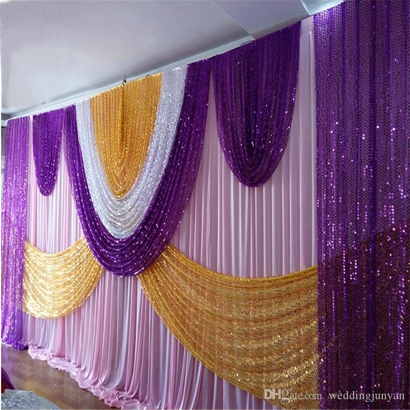 (10ft * 20ft) Hochzeit Vorhang Kulissen mit dichten Pailletten Swag Hochwertige Ice Silk Material Hochzeit Bühnendekoration Volant