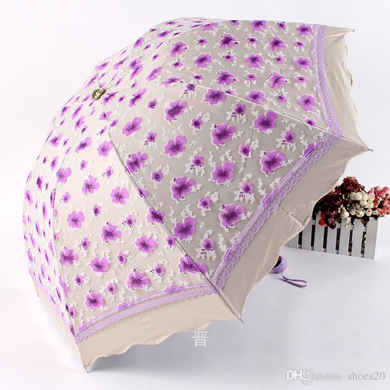 Plum Blossom Print Umbrella Lace Manual Three-Folding UV Protection Designer Umbrella Wedding Bridesmaid Bridal Umbrella Free Shipping