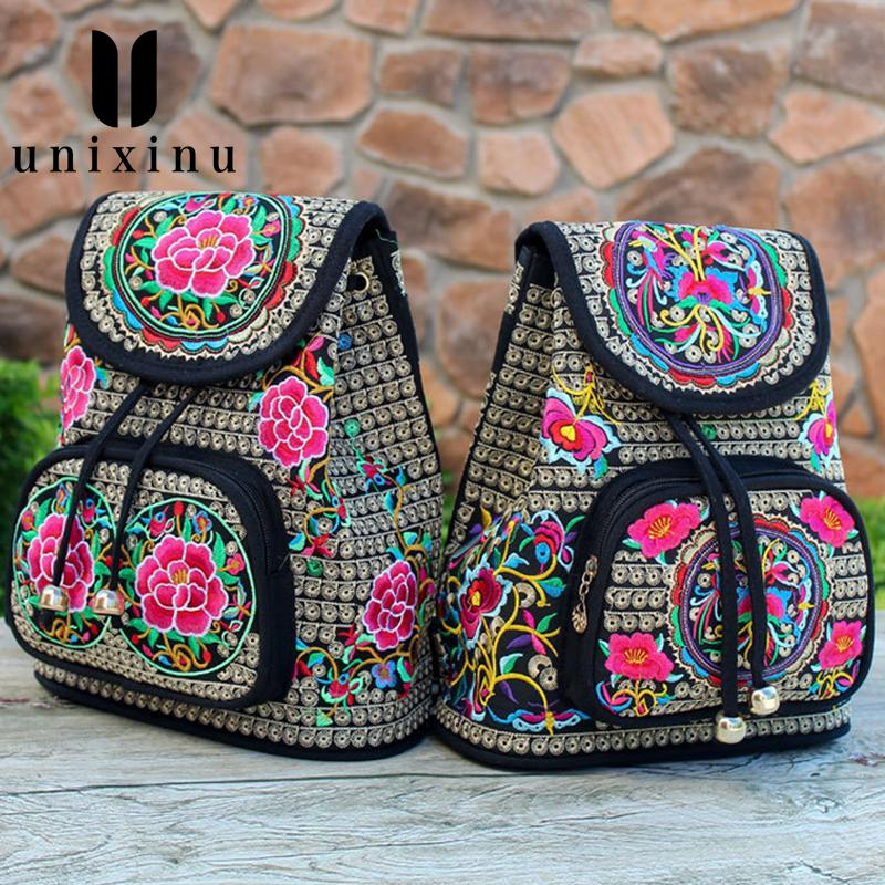 2019 NEW Vintage Ethnic Style Women Backpack Fashion Embroidery Flower Backpack Women Travel Shoulder Bag
