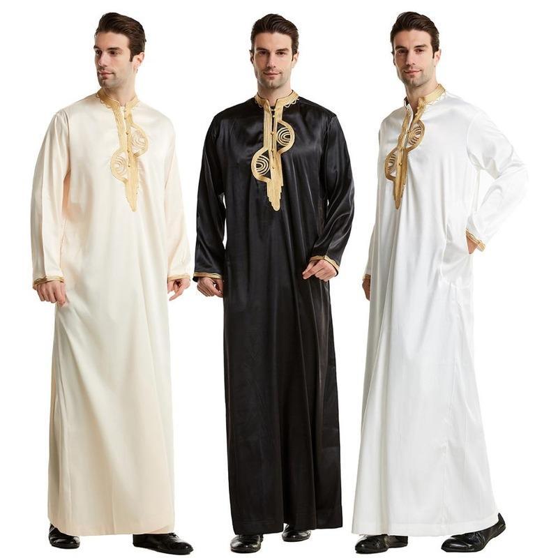 Этническая одежда мусульманская абая для мужчин Джубба Thobe Midne East Long Holdes Kaftan арабский Дубай взрослый рукав исламский