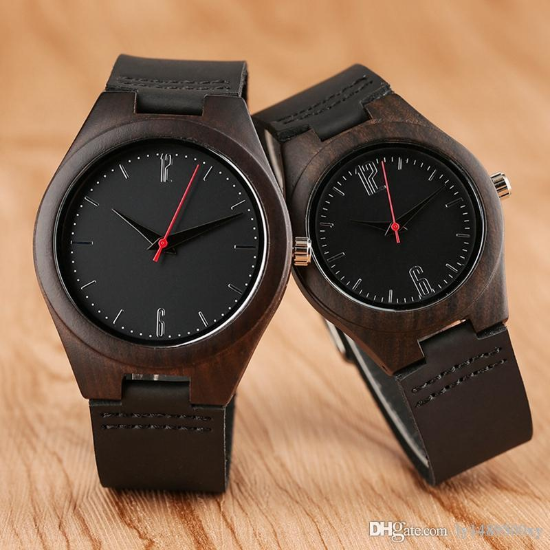 Top Lovers Gifts Luxury Royal Ebony Wood Watch Mens Fashion Wooden Women Dress Hour Clocks Soft Genuine Leather Relojes Unisex Wrist Watches