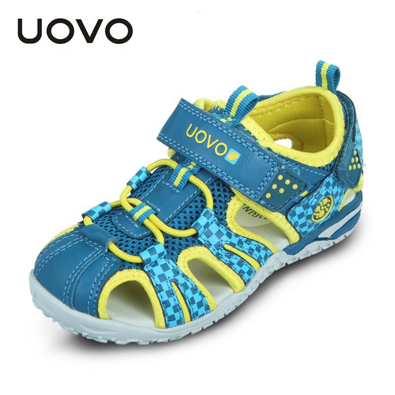 Uovo 2019 Летняя детская обувь Мода Дети сандалии для мальчиков и девочек крючок-петля вырезами лето пляж сандалии Размер 26 # -36 # Y200103