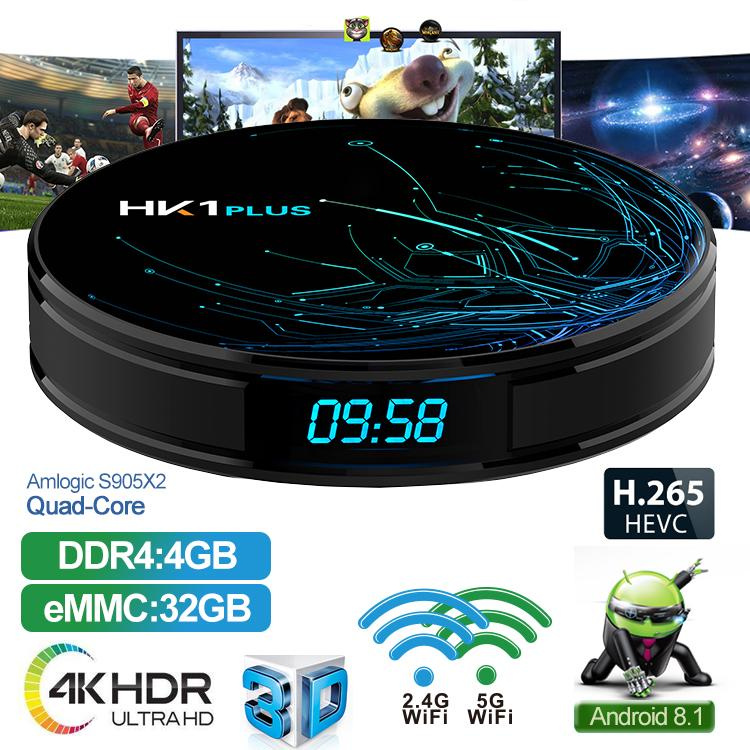 HK1 Plus Android 8.1 TV Box With H6 Quad Core CPU 4GB 32GB Streaming Media Player Support 2.4G Wifi