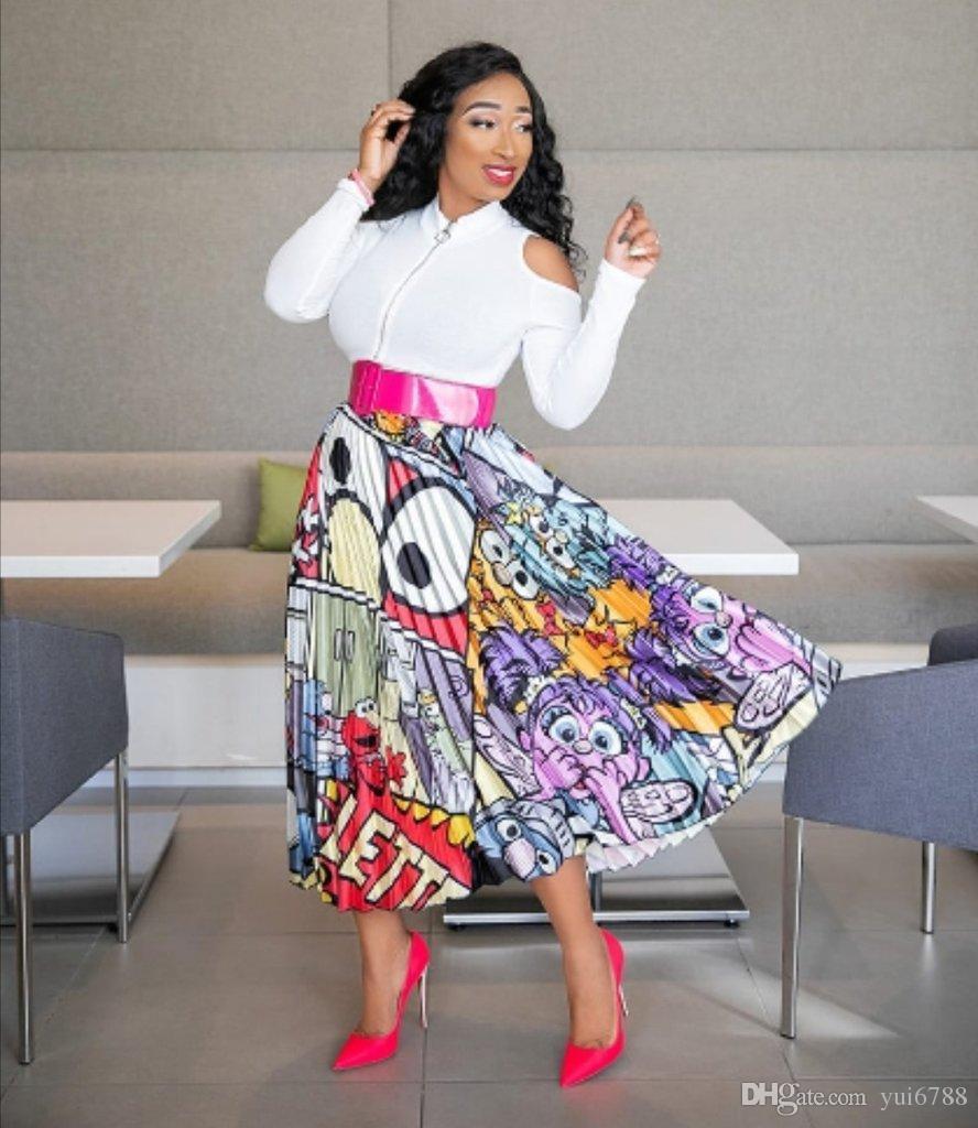 cce814554 Compre Falda Plisada De La Cintura Alta De La Moda De Las Mujeres Animación  Falda Larga Del Estiramiento Señoras Promocionales Del Partido Colorido ...