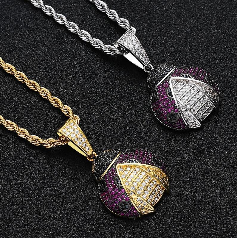 hip hop di New Seven Star Ladybug bella collana per gli uomini le donne mens ciondoli in oro argento gioielli regalo collana a catena
