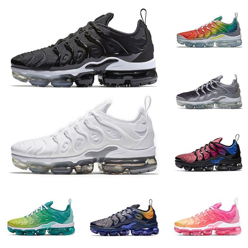 Triple black tn plus running shoes for men women sneakers mens trainer white Rainbow Lemon Lime Silver Gradient breathable sports shoe
