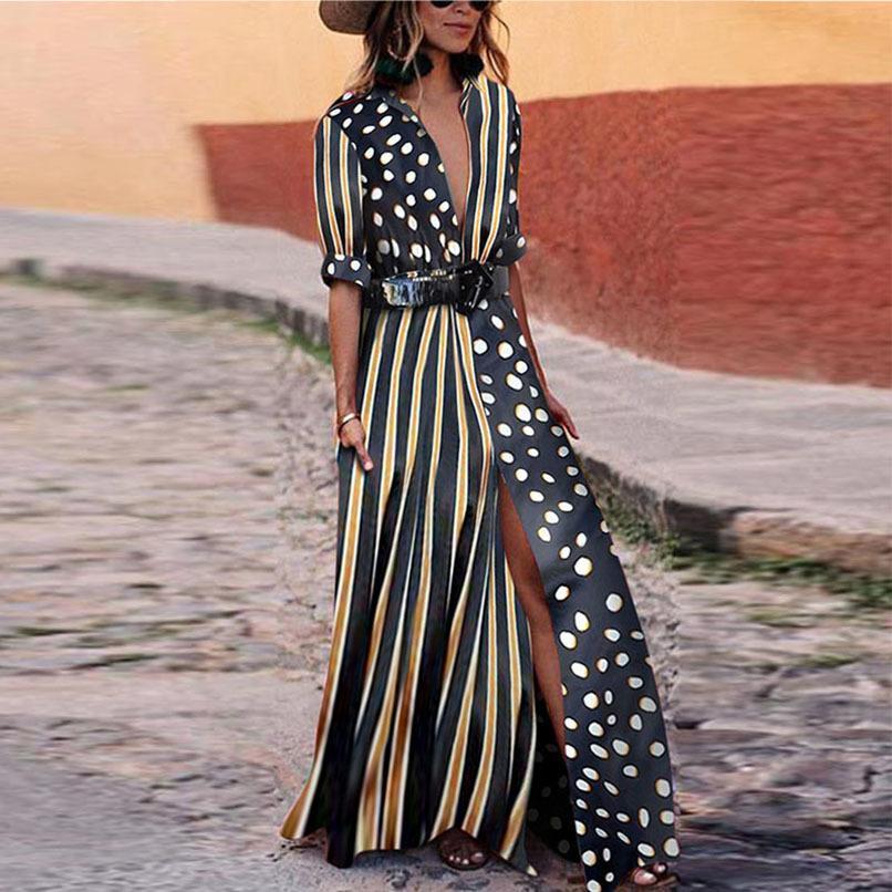 Vestidos de las mujeres largo maxi piso-longitud del vestido ocasional del verano femenino de la media manga de punto de rayas High Street Party Loose