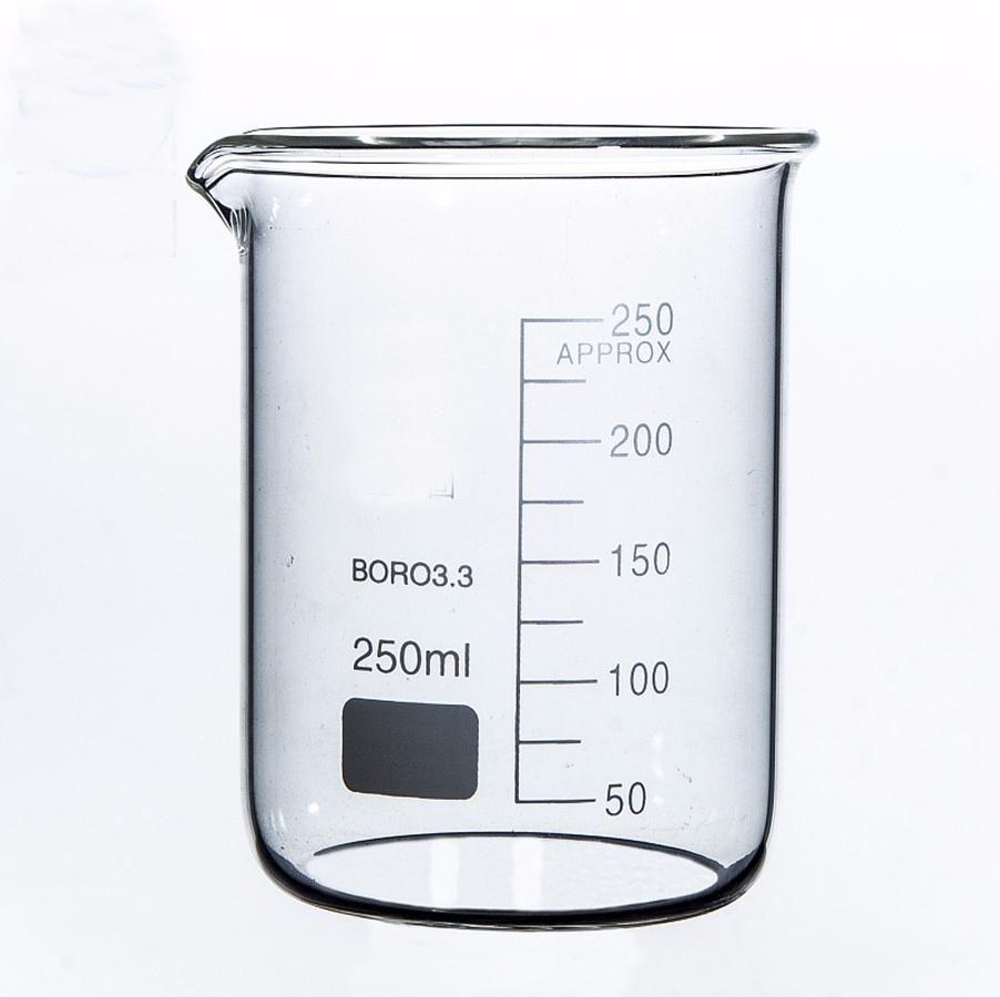 Laboratorio de química de vaso de precipitados de forma baja de 250 ml Vaso transparente de borosilicato espesado