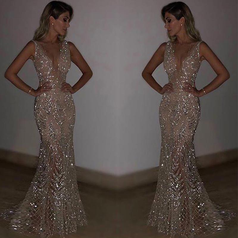 Full Dress Sexy Sleeveless Deep V Full Dress Paillette Longuette