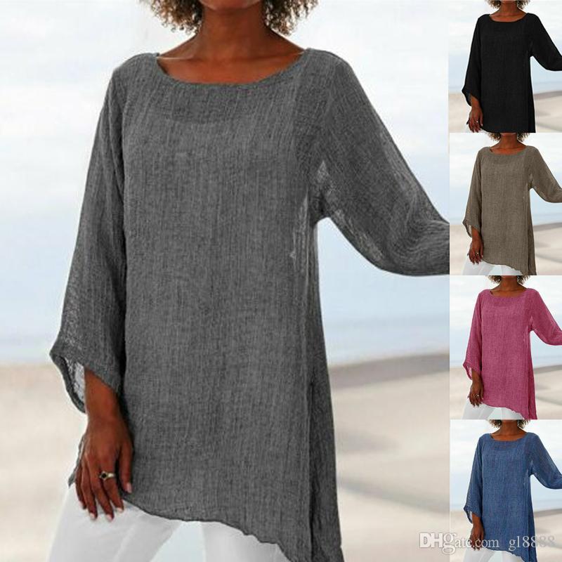 2019 frauen sommer baumwolle leinen casual baggy tunika tops bluse dame langarm shirt
