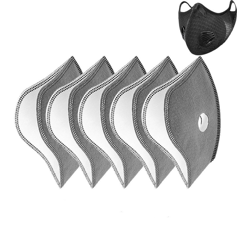 Máscara Máscara de Deportes de la viruta del filtro PM 2,5 Remplacement filtro de tela para la cara de inserción de 5 capas de protección anti-niebla Haze a prueba de polvo libre de DHL transpirable