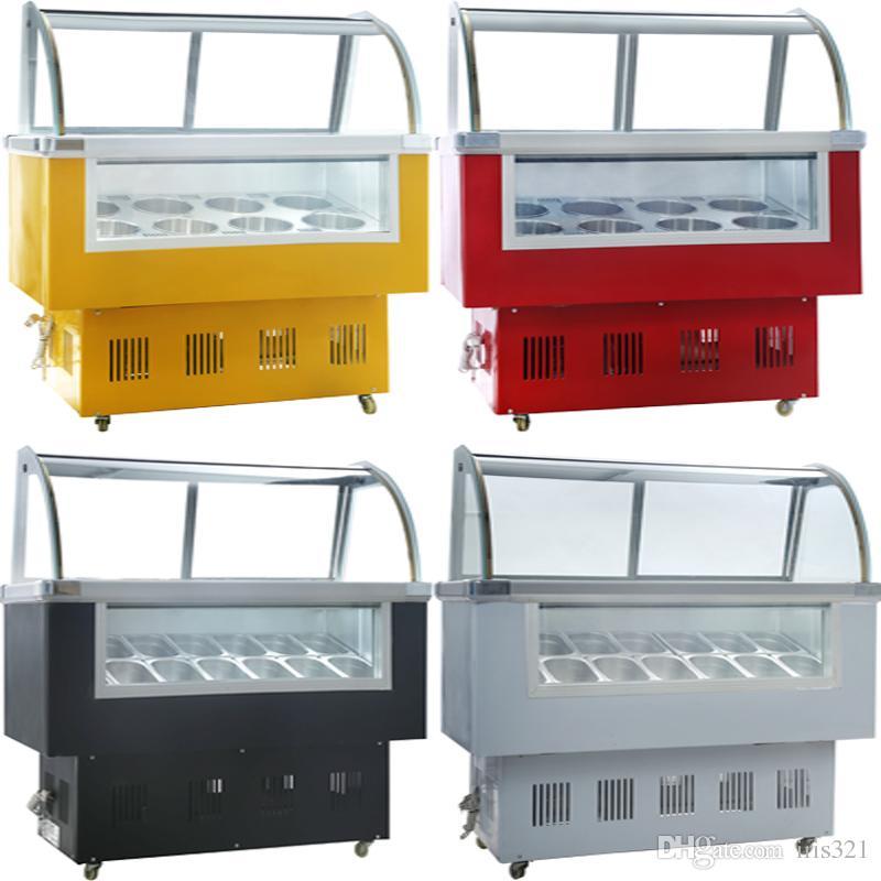 Vitrina de exposición de helado de fábrica / Italia deliciosa mantecadora pantalla de visualización / de paleta congelador / congelador 215W
