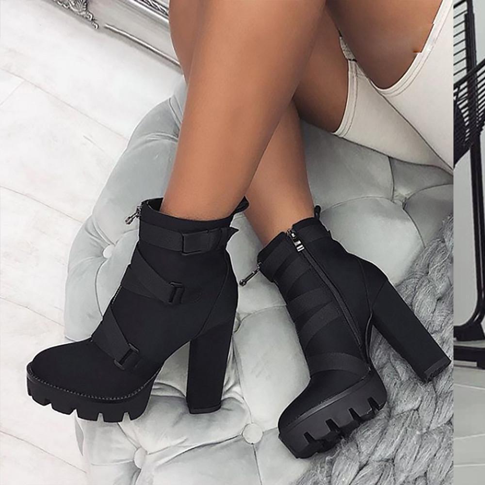 Venda quente-2019 Primavera Moda Botas Pretas Mulheres Salto Primavera Outono Lace-up de Couro Macio Sapatos de Plataforma Botas Do Partido Ankle Boots de Salto Alto