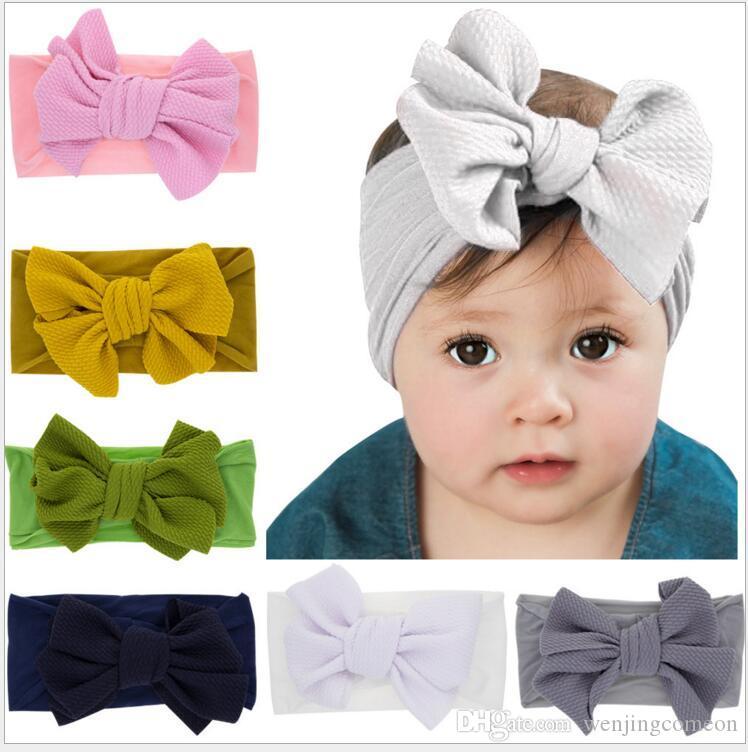 귀여운 여자 아기 큰 활 머리띠 유아 어린이 아기 탄력있는 Hairband 매듭이 된 나일론 머리띠 Turban 머리 랩 헤어 액세서리