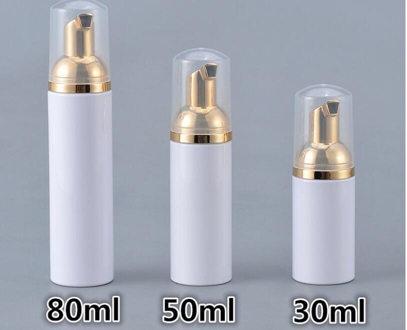 30/50 / 80ML بلاستيك رغوي زجاجة زجاجات الصابون السائل موزع الموس رغوة الشامبو لوسيون تعبئة رغوة مع مضخة الذهب