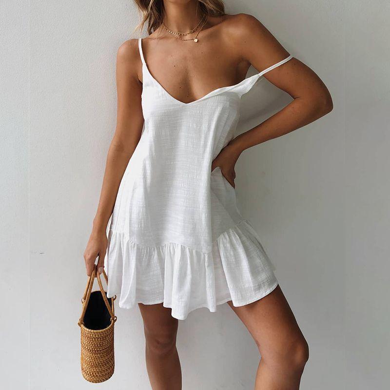 Spagetti Askı Elbise Off Omuz Kadınlar Yaz Elbise 2020 Beyaz Kayması Elbise fırfır Seksi Sundress Mini Pamuk Keten vestidos Y200623