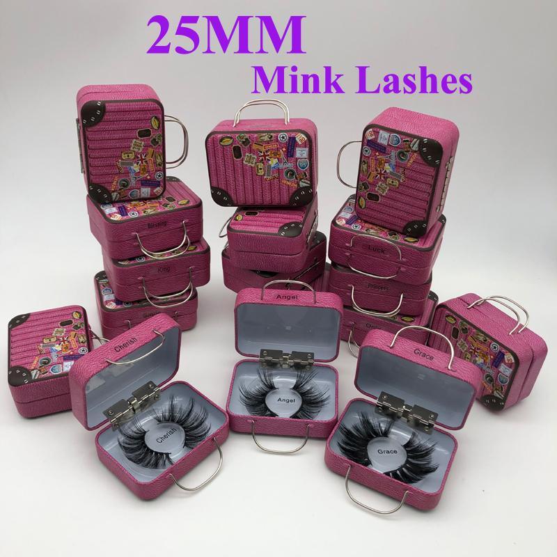 Falsch 25mm Wimpern Großhandel dicker Streifen 25mm 3D Mink Lashes Spezialverpackungen Label-Make-up Dramatisch Lang Mink Lashes