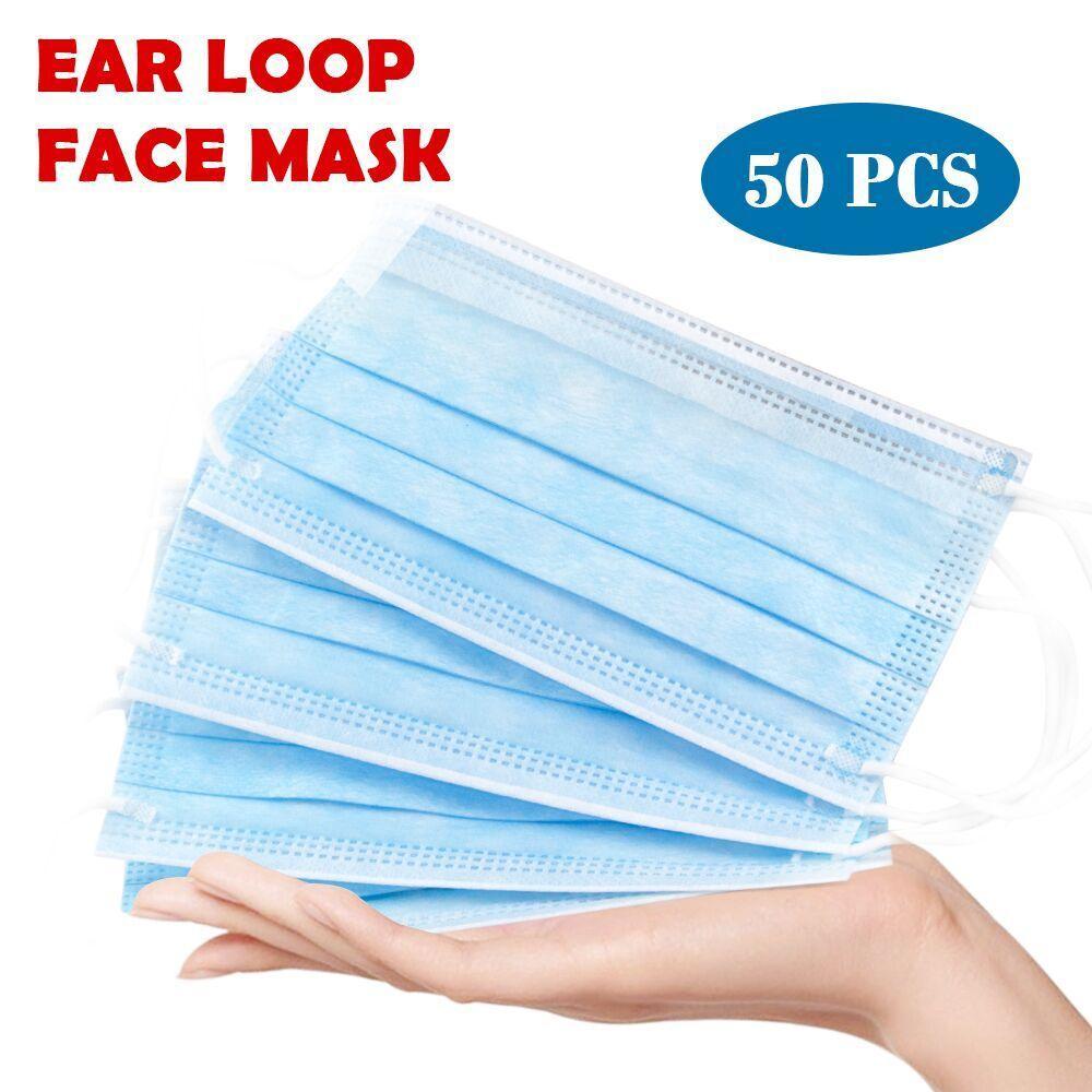 في الأسهم 50pcs / قطعة قناع يمكن التخلص منه ثلاث طبقات قناع الوجه المضاد للغبار مطاطي
