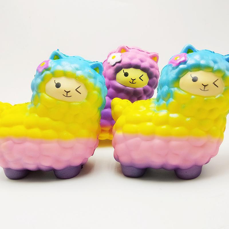 Jumbo bonito mole lenta Nascente Brinquedos Kawaii Arco-íris Sheep suave Squeeze engraçado Anti Estresse Novidade brinquedos de crianças