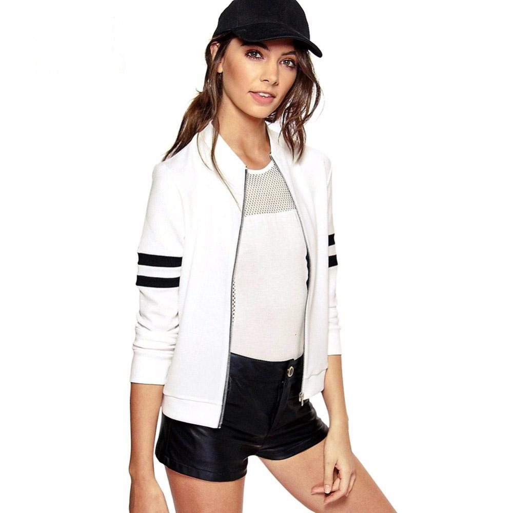 Brief Patchwork Sleeve Autumn Winter Women Basic Coats Jacket 2019 New Long Sleeve Baseball Jacket Outwear Bomber JacketMX190930