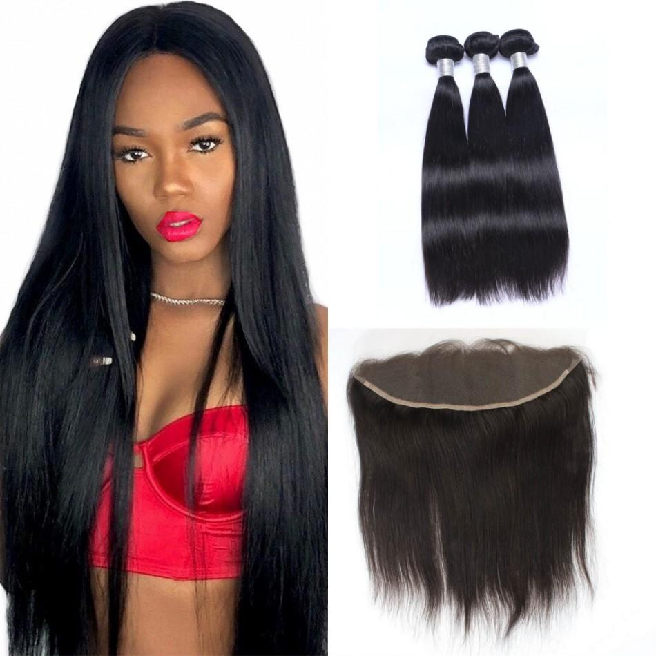 Brazilian Virgin Human Hair Straight Bundles with Frontal Ear to Ear 13x4 Lace Frontal Closure with 3 Bundles