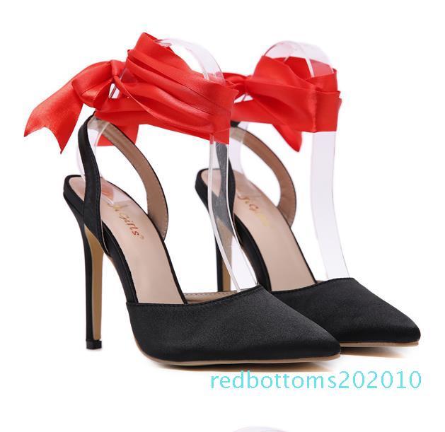 tamanho 35 a 42 saltos altos de cetim preto envoltório tornozelo vermelho bombas sapatos mulheres de luxo de designer 10r
