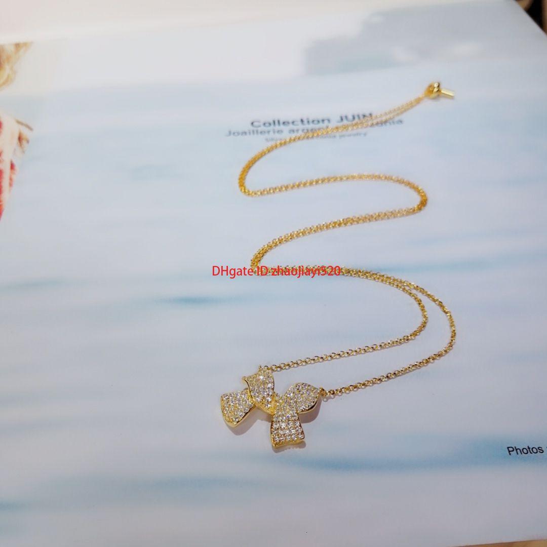 Collier femme de designer tempérament design polyvalent pendentif parti noeud collier pendentif diamant plein