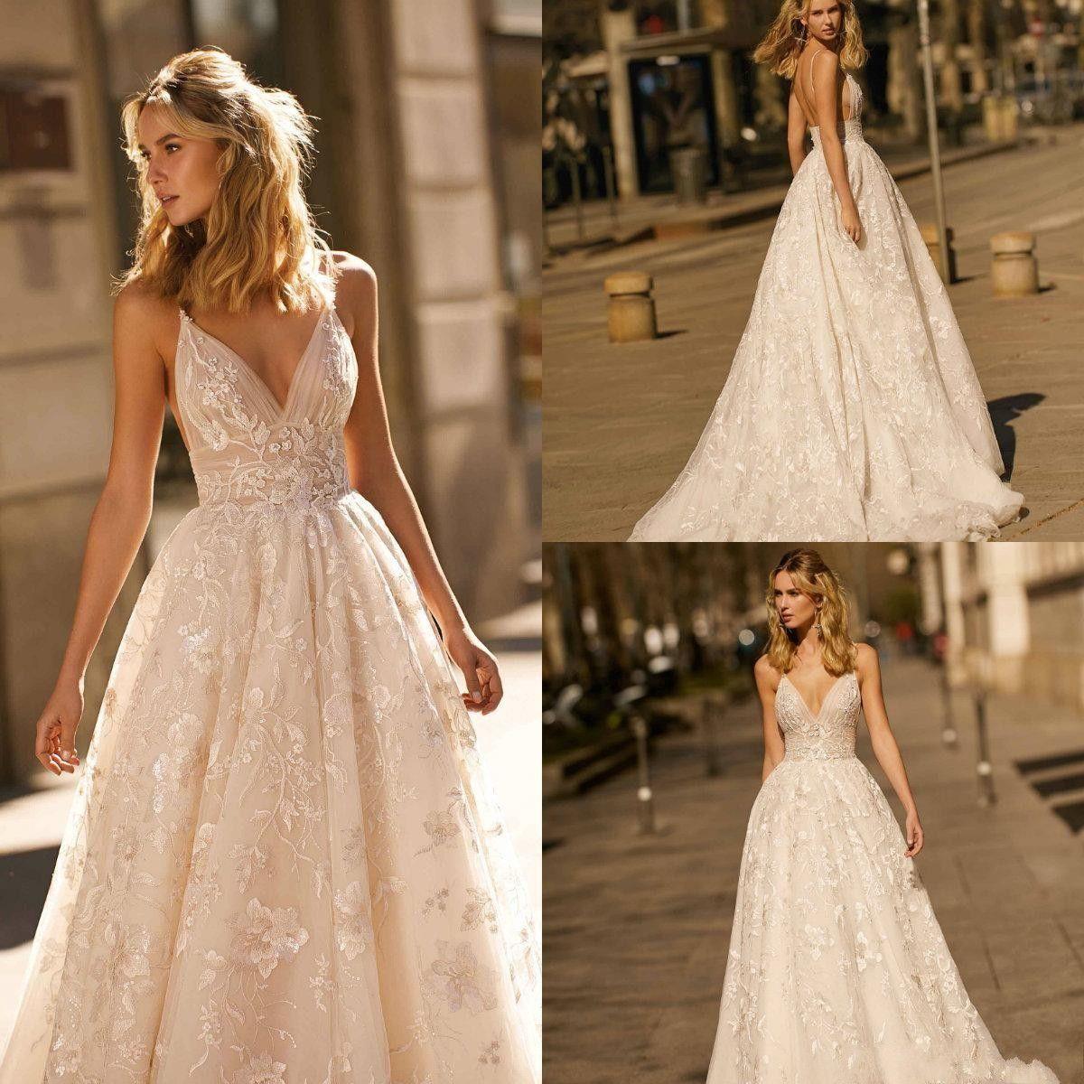 Berta 2021 Sexy Lace Wedding Dresses Appliqued A Line Sweep Train Spaghetti Beach Wedding Gowns Custom Made Sexy Sequins Boho Bridal Dress