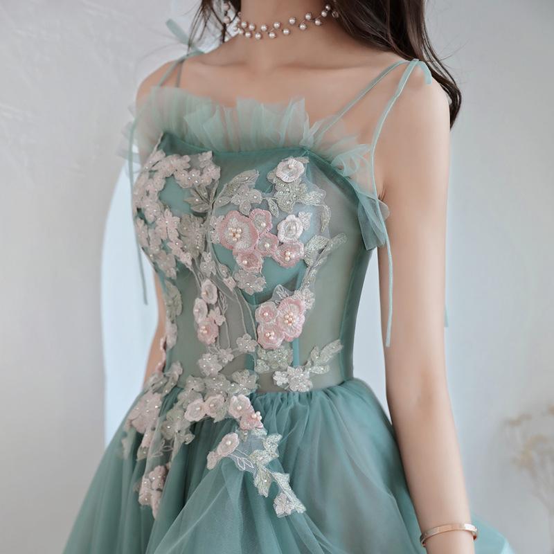 New greydish green sweat lady girl women princess prom evening dress performance singing banquet party ball dress gown