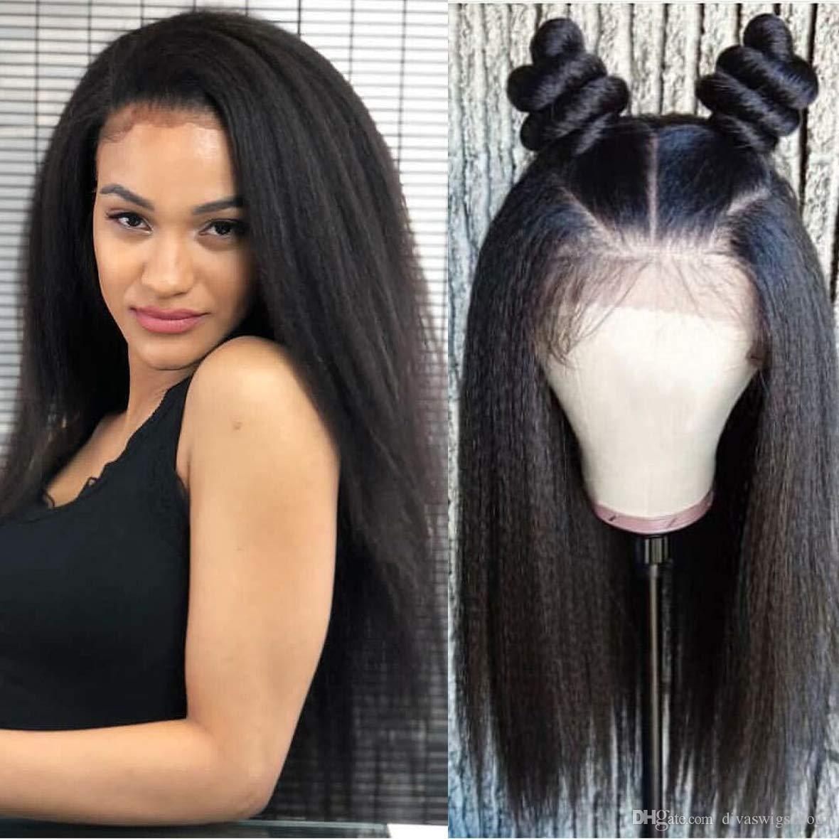 360 frontal de la peluca del cordón del yaki ligero recta pelucas del frente del cordón de Yaki del cabello humano brasileño Para Mujeres Negro pelo de Remy 130% Densidad