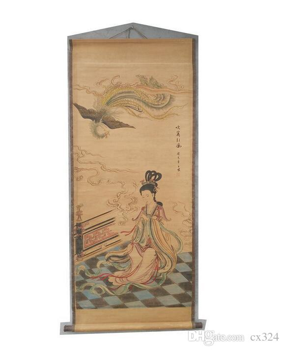 Antiques, paintings, antiques, old Chinese paintings, paintings, living room, office, blowing, phoenix , decorative figures, callig